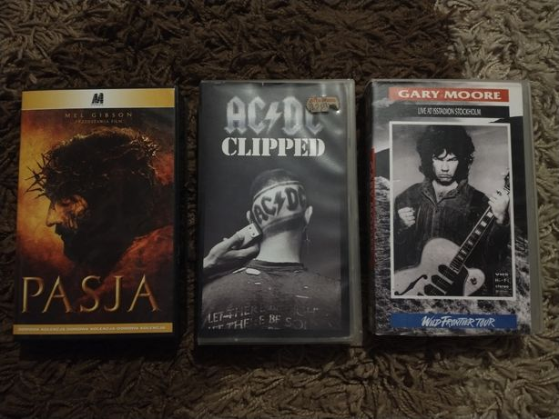 Kaseta VHS ACDC Clliped; Gary Moore Live at Isstadion Stockholm; Pasja