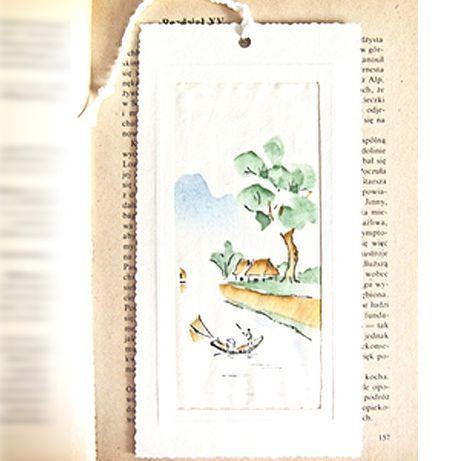 biała zakladka do książki,elegancka zakladka,malowany jedwab,hand made