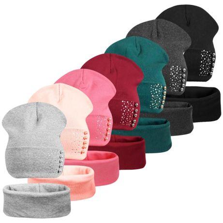 Двойной хлопковый комплект шапка с хомутом Капелька ог.50-58см