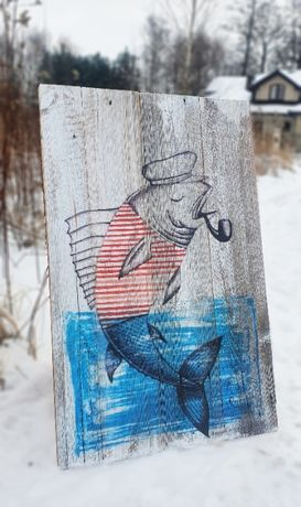 Obraz rustykalny na litym drewnie RYBKA MARINE
