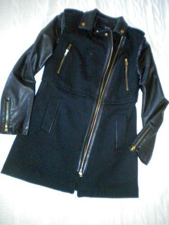 Czarny płaszcz wstawki wełna r 38