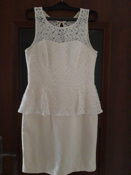 MOHITO biała złamana biel sukienka koronka gipiura wesele baskinka 38