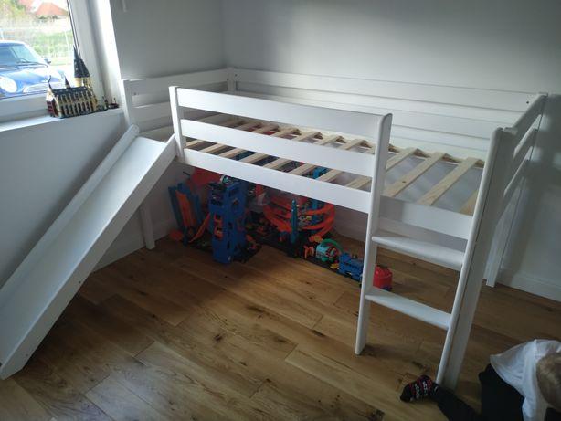 Łóżko ze zjeżdżalnia 90 x 200 białe dziecięce