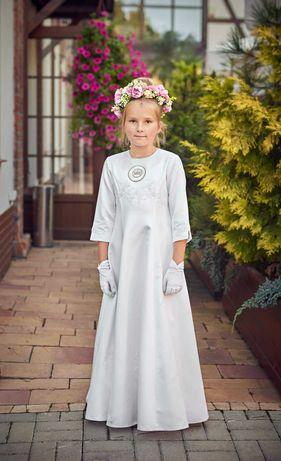 Sukienka komunijna liturgiczna 152 bolerko rękawiczki ubiór strój