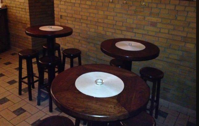 stoliki dębowe barowe okrągłe+ krzesła