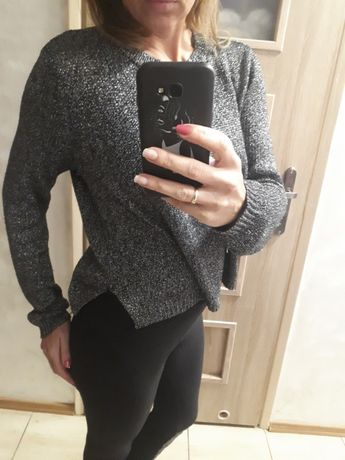 WYPRZEDAZ Czarny METALICZNY sweter OVERSIZE asymetria s m