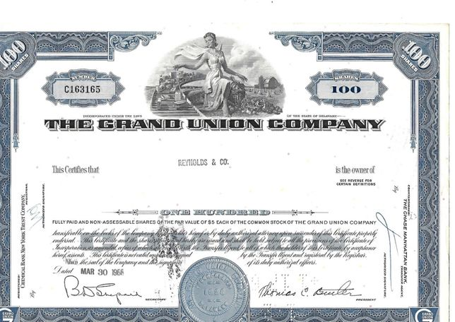 Bonds Shares Ações The Grand Union Company 1966 USA