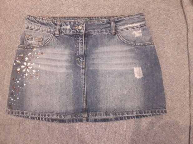 Spódniczka mini 40 Denim Jeans z przetarciami