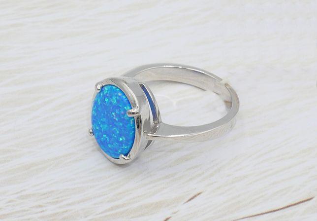 Srebrny pierścionek 925- opal australijski syntetyczny-rozmiar 15