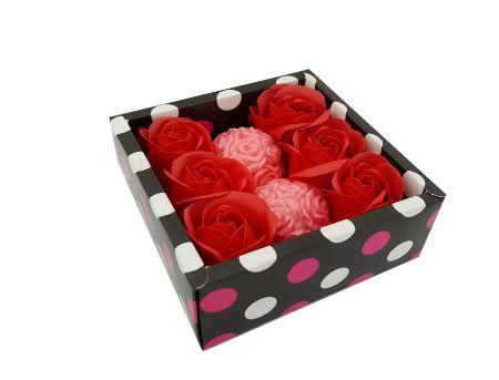 Мило-Троянда червоне. Набір 6+2. Квадратна упаковка.