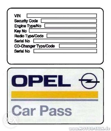 Opel odczyt CARPASS CAR PASS Kod PIN immobilizera Vectra Zafira, TECH2