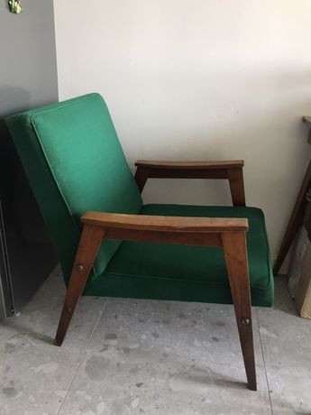 Fotel prl vintage ciemna zieleń