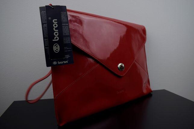 Torebka baron kopertówka czerwona nowa z metką