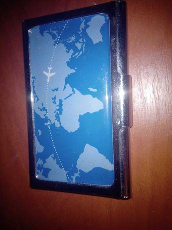 Визитница металлическая карта мира