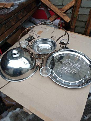 Садж кованый, блюдо для подогрева шашлыка, 36 см.