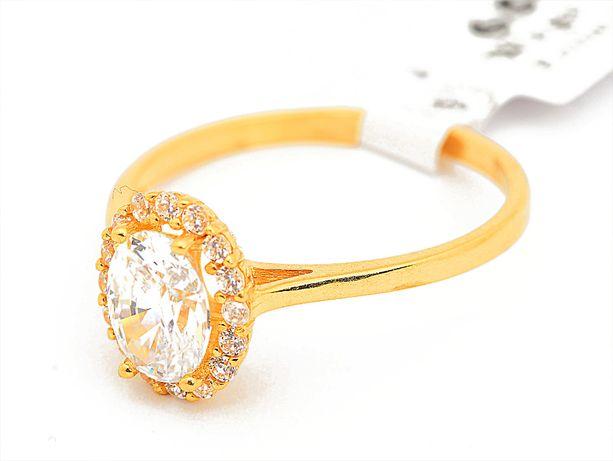 Złoty pierścionek z oczkiem cyrkonia pr.585 roz.21