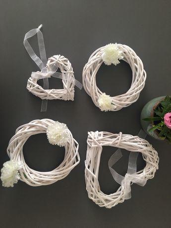 Ozdoby dekoracje wiklinowe rustykalne zestaw białe