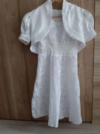 Nowa biała sukienka dziewczęca z bolerkiem na komunię, wesele