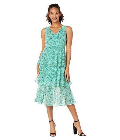 Брендовое зелёное лёгкое шифоновое трехярусное миди платье Nine West