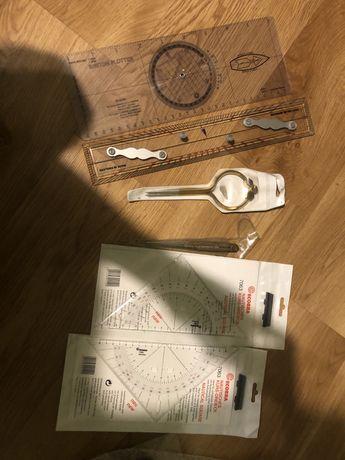 Liniał równoległy-kątomierz, cyrkiel nawigacyjny, trójkąt nawigacyjny