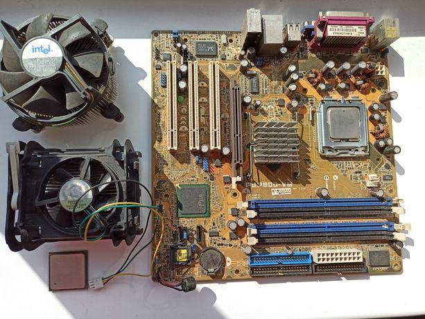 Материнская плата ASUS P5P800-VM. С двумя процесорасми