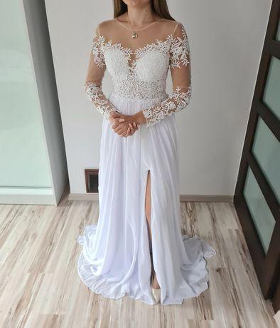 Suknia sukienka ślubna biała długa z długim rękawem koronkowa