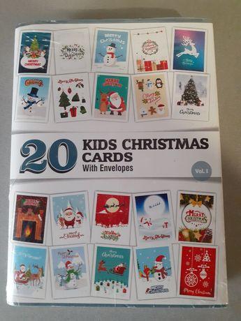 Открытки с конвертом 20 шт, С рождеством и Новым годом!Англия