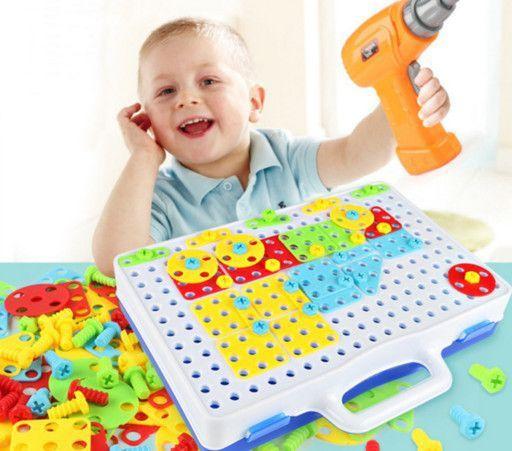 Детский конструктор скрутка Creative Puzzle 193 детали с шуруповертом