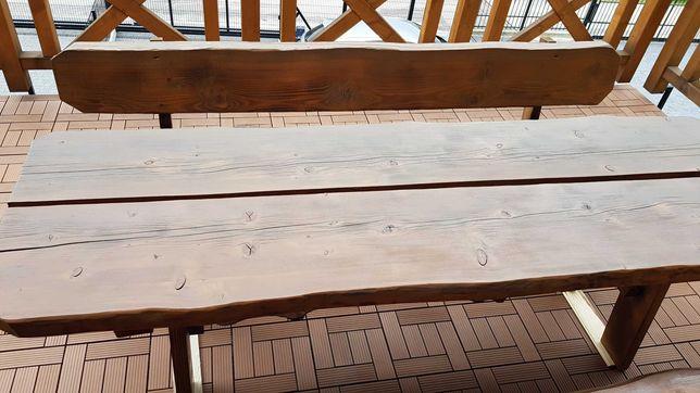 Komplet Mebli Ogrodowy Ławki Stół Drewniany Zestaw 250x80