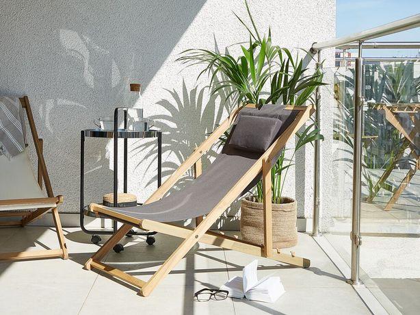 Cadeira de jardim cinzenta reclinável e dobrável AVELLINO - Beliani