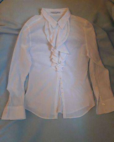 Marie Lund koszula z żabotem falbanka biała S/36