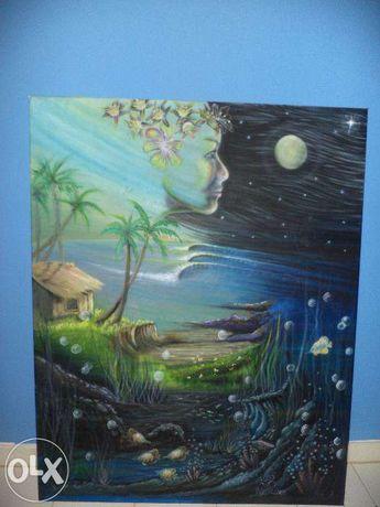 tela pintada à mão-paisagem nocturna