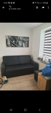 Kanapa sofa rozkładana ekoskora czarna mat
