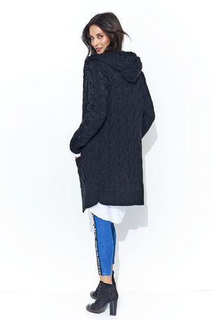 Długi czarny ciepły kardigan z kapturem wzór z warkoczem