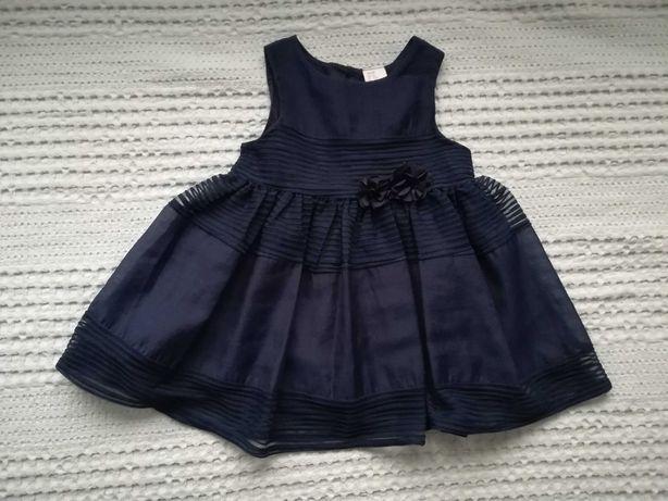 Elegancka, granatowa sukienka h&m rozmiar 74