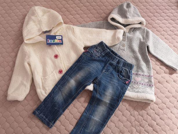 Ciepły zestaw sweterek jeansy Tunika rozm 80
