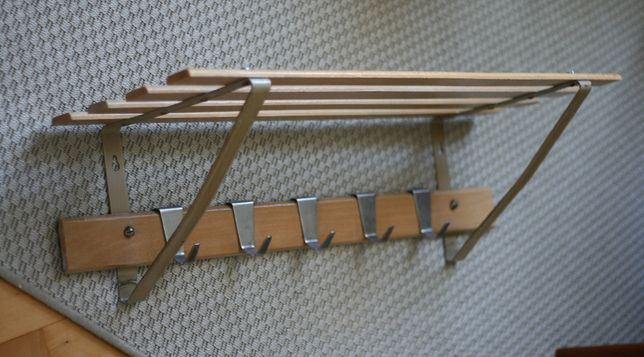Wieszak FWM Stojadła PRL metalowy drewniany modern vintage retro