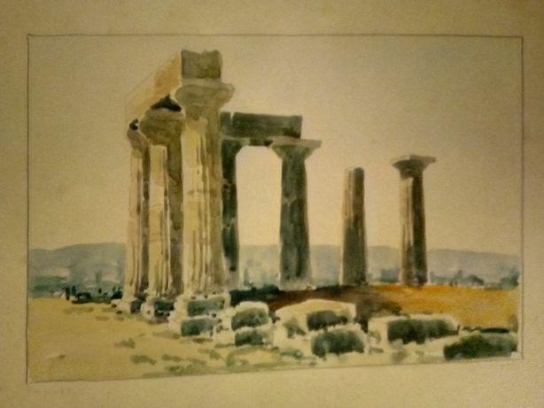 Antiga aquarela de ruínas de templo - assinada