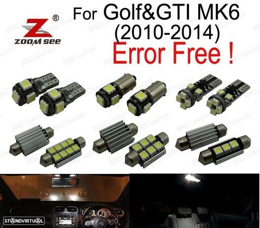 KIT COMPLETO DE 14 LÂMPADAS LED INTERIOR PARA VOLKSWAGEN VW GOLF 6 MK6 MK VI GTI (2010-2014)