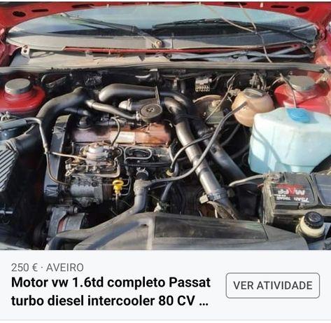 Motor 1.6 TD gtd vw Passat golf intercooler completo
