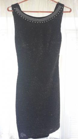 Платье GYGESS черное с люрексом вечернее коктейльное
