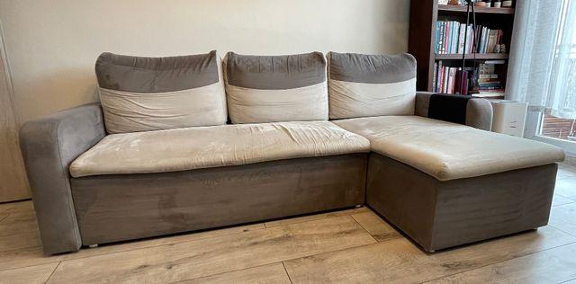 Sofa rozkładana z funkcją spania, pojemnik na pościel, alcantara, BRW