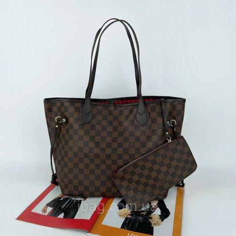 Женская сумка шоппер на плечо Louis Vuitton neverfull жіноча сумочка