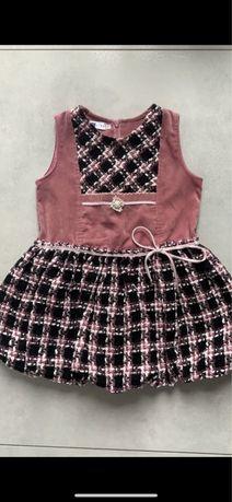 Sukienka bombka czarno różowa