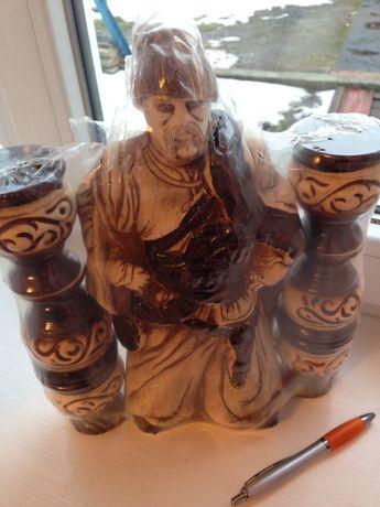 Набор, Глиняная Бутылка (бутыль) и стопки сувенирные, казак гетьман