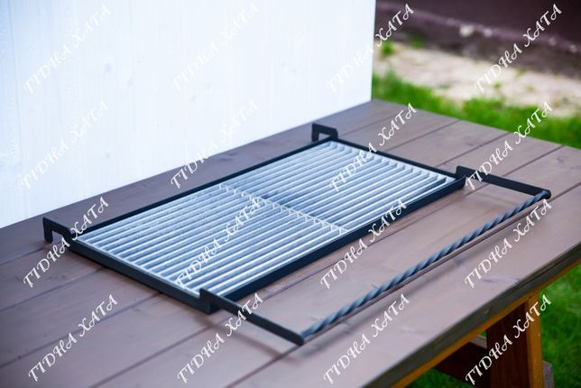 Чугунная решетка гриль 32x72 с рамкой на мангал Барбекю решітка