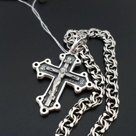Комплект! Серебряная цепочка и крестик в коробочке. Цепь и крест 925