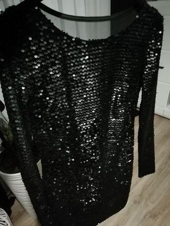 Sukienka cekiny matowe długi rękaw sylwester cekinowa