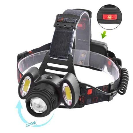 Фонарь налобный аккумуляторный 3 светодиода.