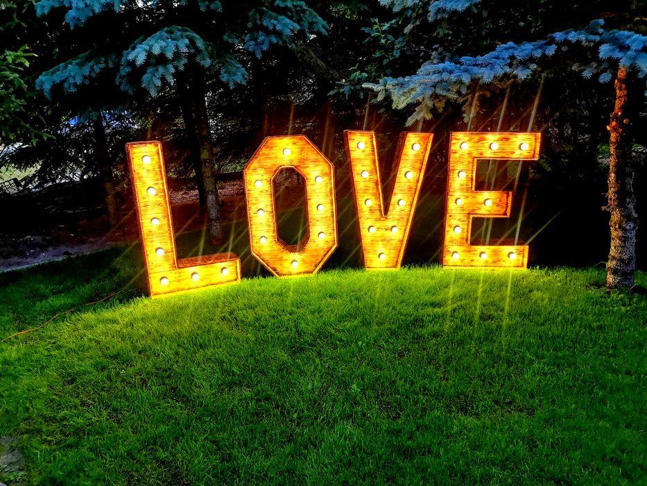 Litery napis LOVE rustykalny 3D LED wesele ślub uroczystość Strzelno - image 1